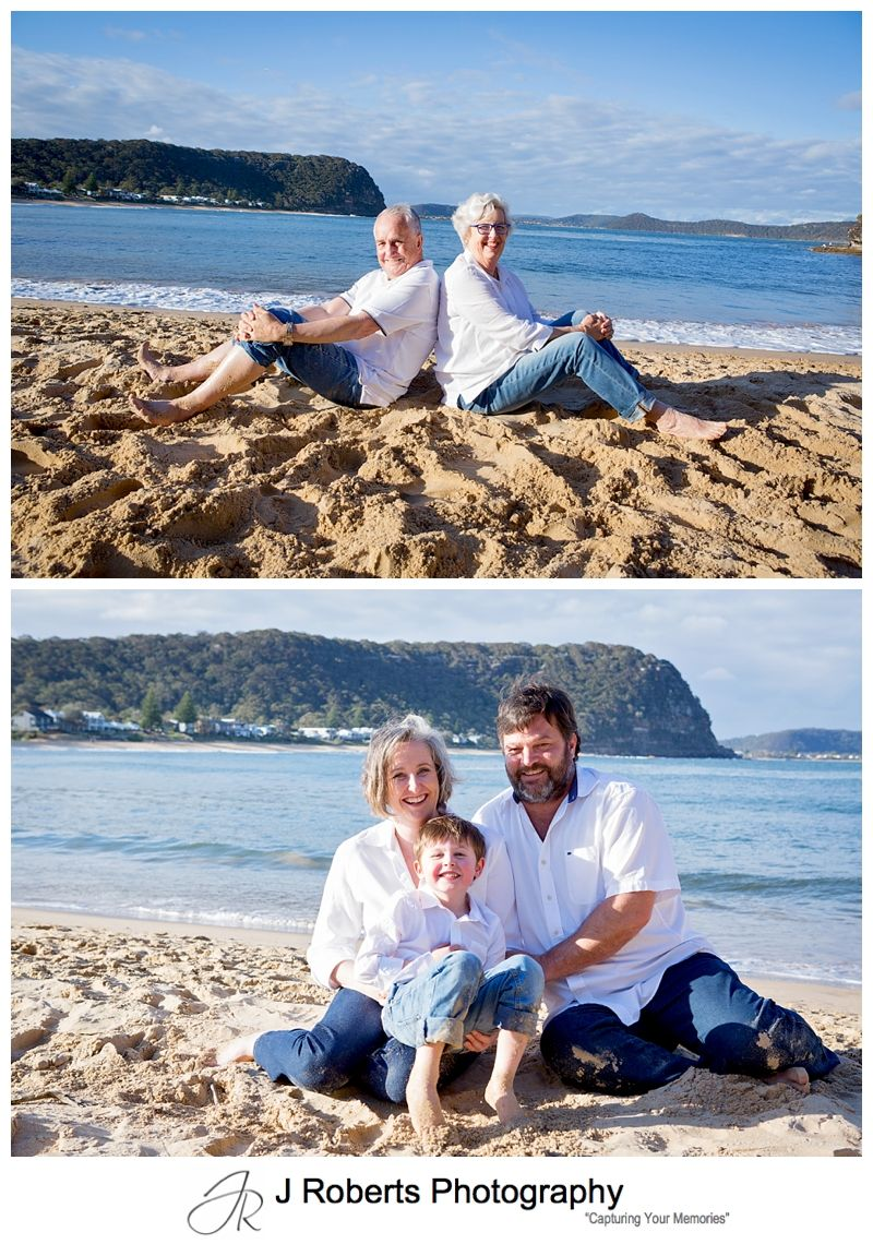 Extended Family Portraits on location at Pearl Beach while on Family Holiday